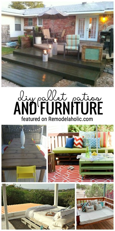 Pallets are a great way to start a project for your yard or garden! Try one of these outdoor pallet patios and furniture. Featured on Remodelaholic.com