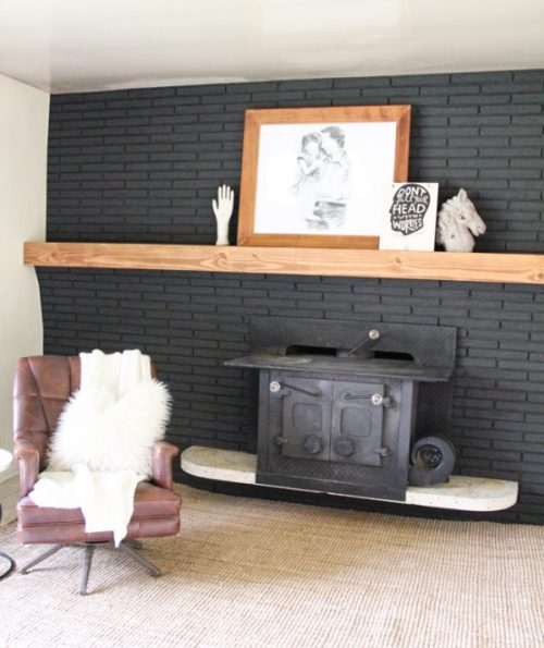 Fixer Upper DIY Easy Wood Manetl for Brick Fireplace_Remodelaholic
