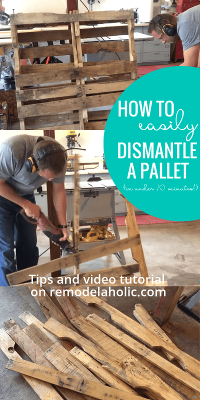 The easy way to dismantle a pallet, in under 10 minutes, without breaking sweat! Plus everything you need to know to choose a good pallet for your next pallet project (and some great pallet building tutorials to get you started!)