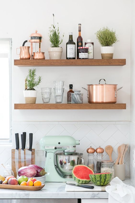 Mint and Copper Kitchen Inspiration   Image Source: Crate and Barrel Concept and styling: 100 Layer Cake Photo Credit: Scott Clark Photo