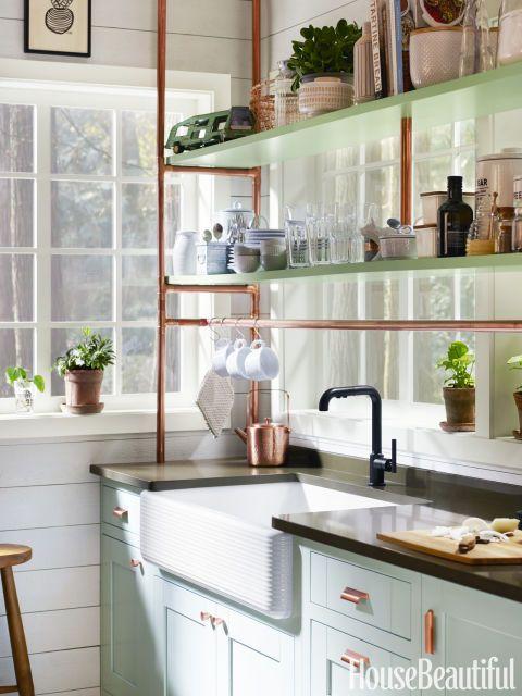 Mint and Copper Kitchen Inspiration | Image Source: House Beautiful Photo Credit: Kohler