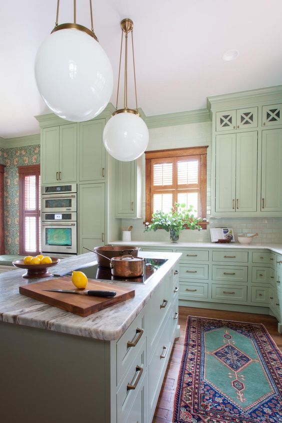 Mint and Copper Kitchen Inspiration | Image Source: HGTV Photo Credit: Erin Williamson