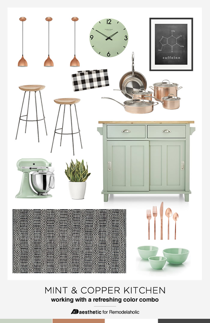 Remodelaholic Mint And Copper Kitchen Inspiration