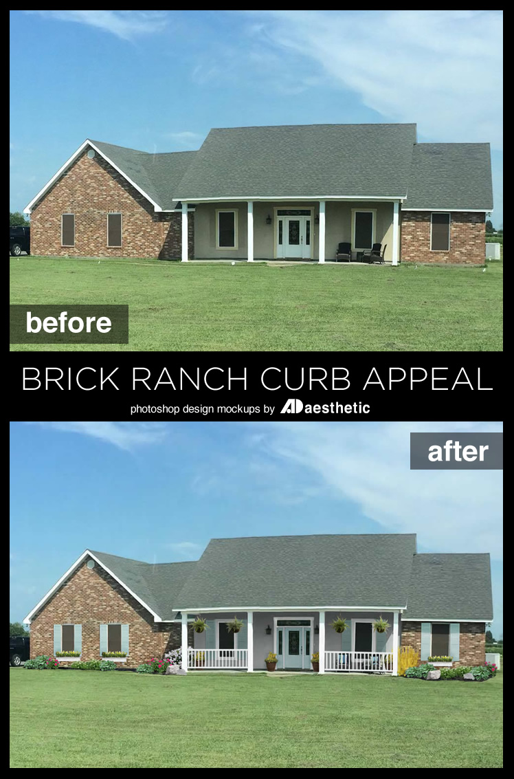 """Many new homes suffer from """"blank slate"""" curb appeal. See how Dawn transformed (virtually!) this reader's home withs some simple curb appeal updates for this brick ranch • AD Aesthetic for Remodelaholic"""