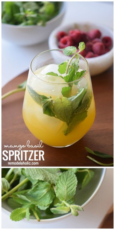 Perfect way to cool doown on a warm day with a simple drink try this Mango Basil Spritzer via Remodelaholic.com
