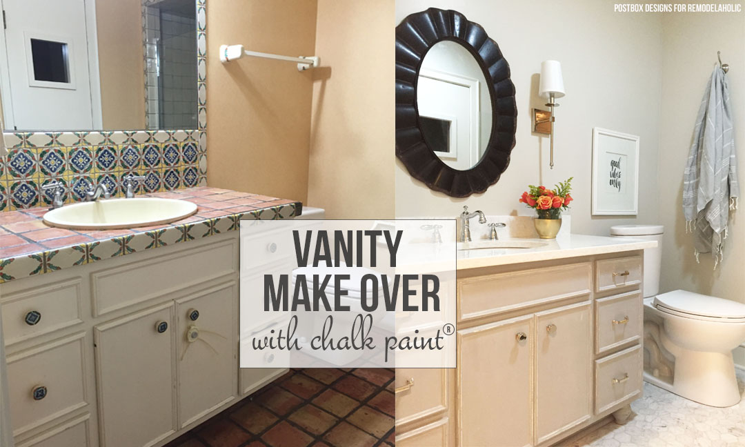 Whole bathroom makeover and new painted vanity using Chalk Paint® on @remodelaholic