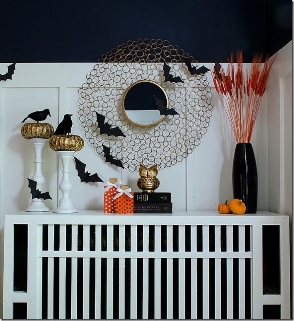 Faux Halloween Mantel with Bats