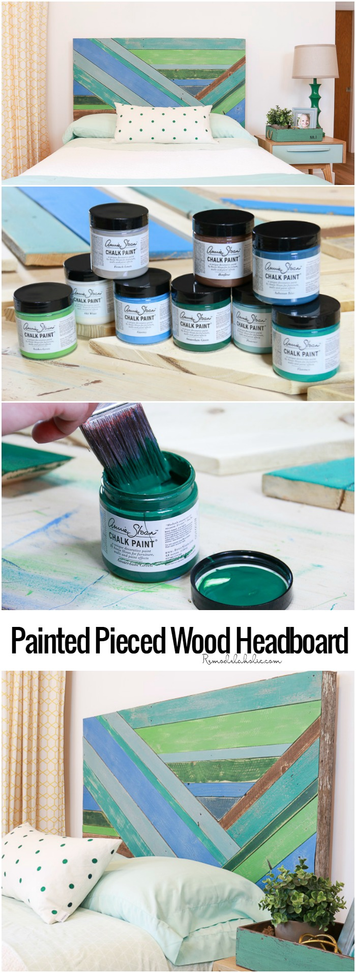 Let your scrap pile of reclaimed wood shine! This DIY tutorial shows you step by step how to build a pieced wood headboard, with optional color washing with #AnnieSloan chalk paint for added character. #remodelaholic | DIY headboard tutorial | reclaimed wood project | video tutorial | free building plan