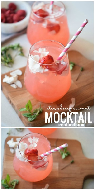Grab some strawberries and coconut flakes and get mixing up a yummy mocktail. This recipe is perfectly refreshing. Strawberry Coconut Mocktail Recipe By Remodelaholic.com
