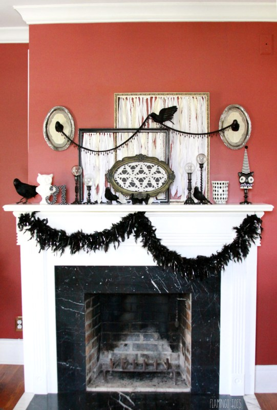 Vintage black and white halloween mantel | Easy DIY Halloween Decoration Ideas