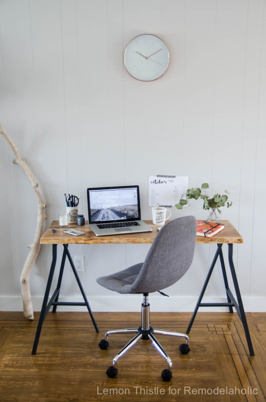 DIY Live Edge Desk with Trestle Legs- I can't believe it's an Ikea Hack- It looks so great!