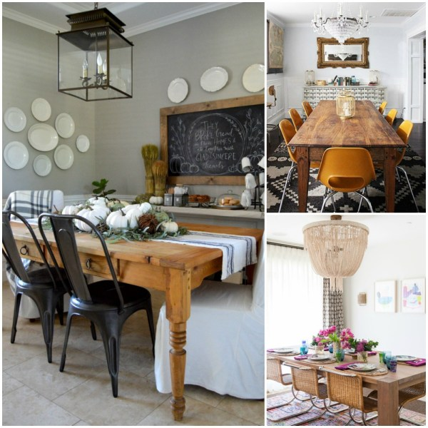 Choosing a dining room style? Explore these beautiful styles! Cottage farmhouse, eclectic, and boho dining room decor picks and inspiration from Postbox Designs on Remodelaholic.com
