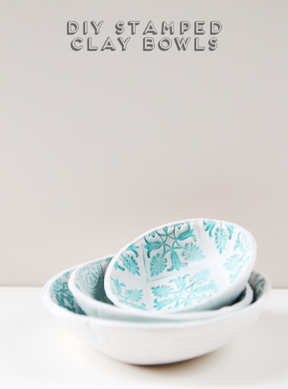 Diy Stamped Clay Bowls Title New