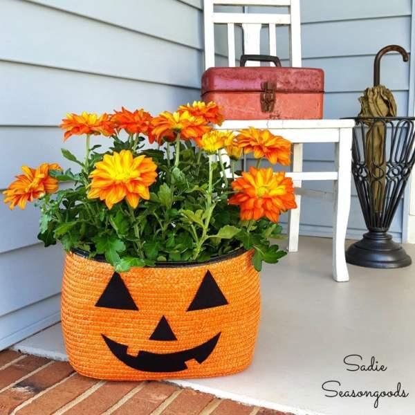 Orange Straw Tote Turned Pumpkin Planter Sadie Seasongoods