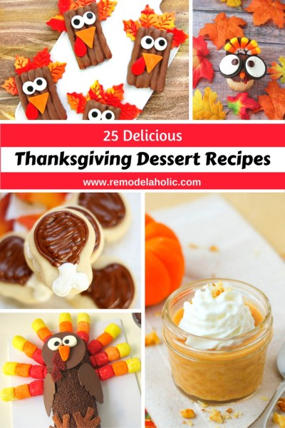 Thanksgiving dessert doesn't always have to be pie. Make one of these really cute and festive Thanksgiving treats. 25 Delicious Thanksgiving Dessert Recipes featured on Remodelaholic.com