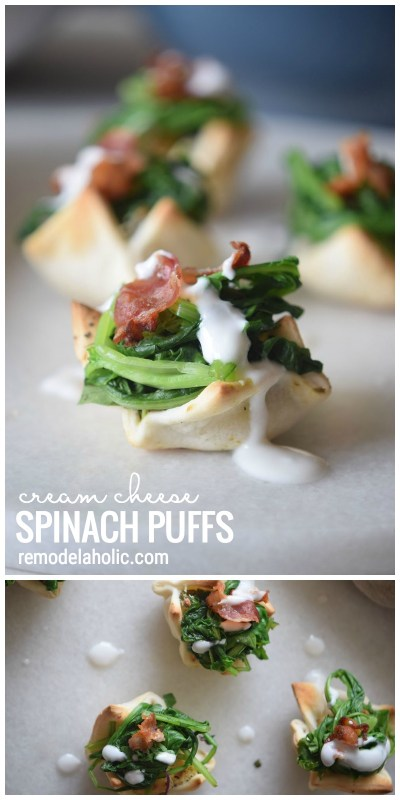 A Yummy And Pretty Appetizer To Share At Your Next Party Cream Cheese Spinach Puffs Via Remodelaholic Com