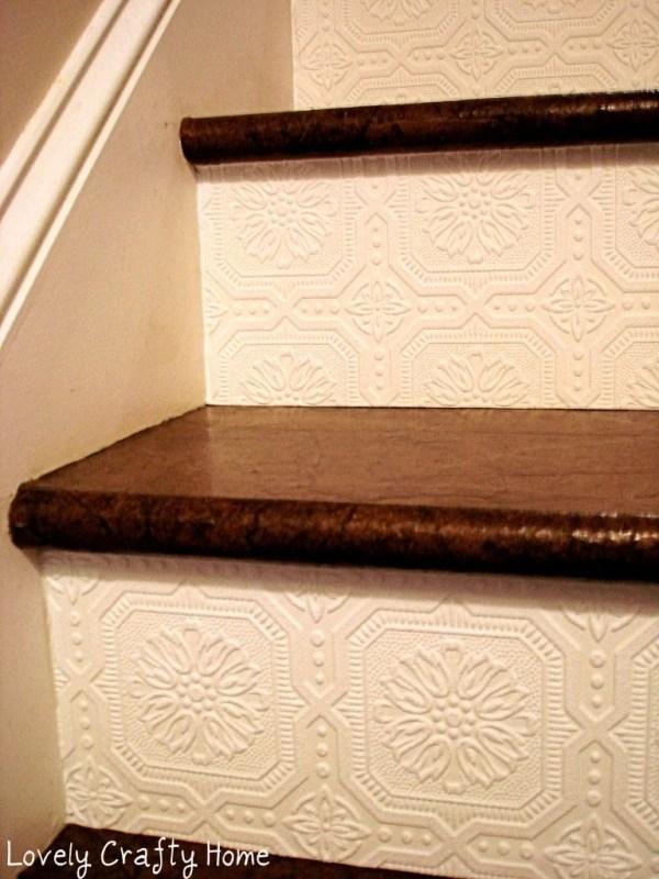 Textured Wallpaper Stair Riser 1