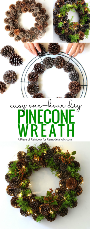 If you've got an hour, you can make this beautiful winter pine cone wreath! Gather some pinecones and a few sprigs of greenery and follow this tutorial from A Piece of Rainbow on Remodelaholic.com
