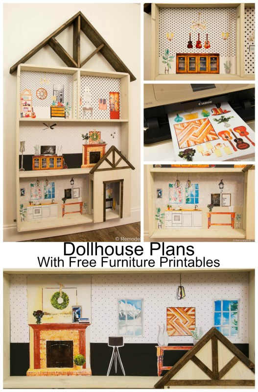 Remodelaholic | DIY Dollhouse Tutorial + Free Printable Dollhouse ...