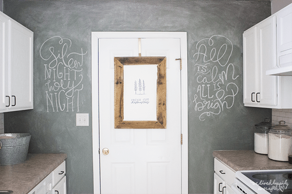 1 Chalkboard Wall In White Kitchen, A Christmas Home Tour By We Lived Happily Ever After Featured On @Remodelaholic