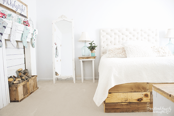 13 White, Rustic Master Bedroom, By We Lived Happily Ever After Featured On @Remodelaholic
