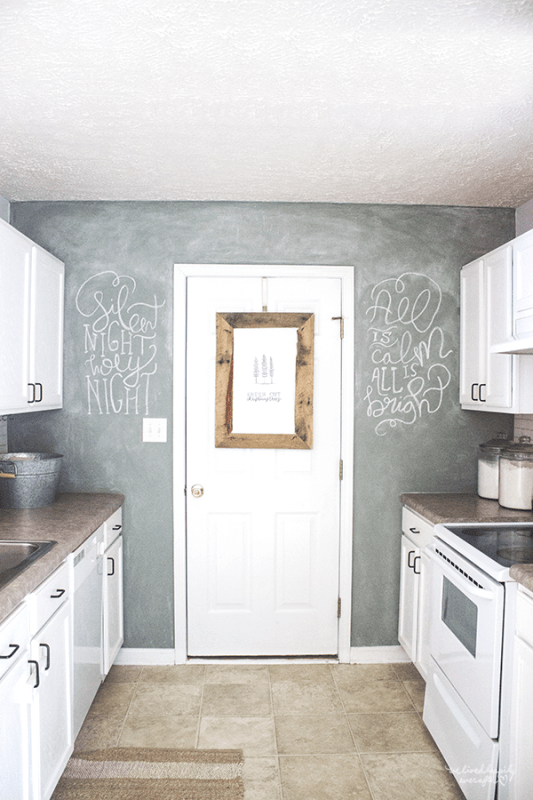 9 Chalkboard Wall In Rustic White Small Kitchen, By We Lived Happily Ever After Featured On @Remodelaholic