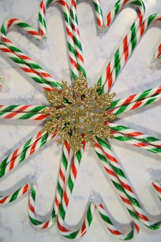 Candy cane wreath with a snowflake