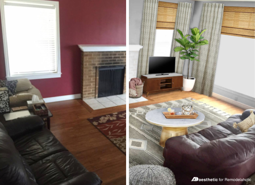 Real Life Rooms: Neutral Living Room with a Burgundy Couch