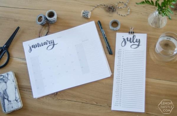 Lemon Thistle, 2017 Handlettered Calendars