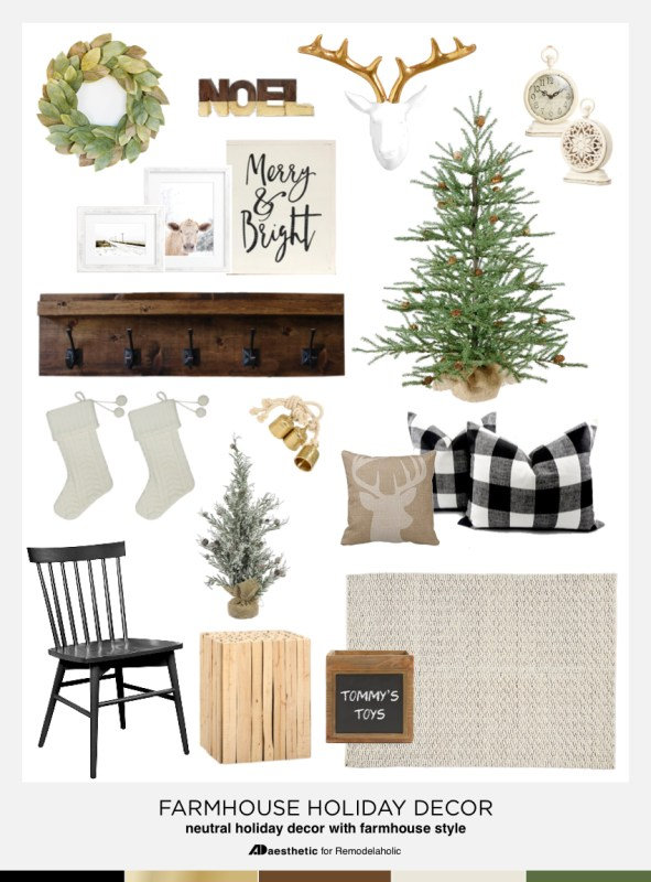 Farmhouse Holiday Decor Mood Board