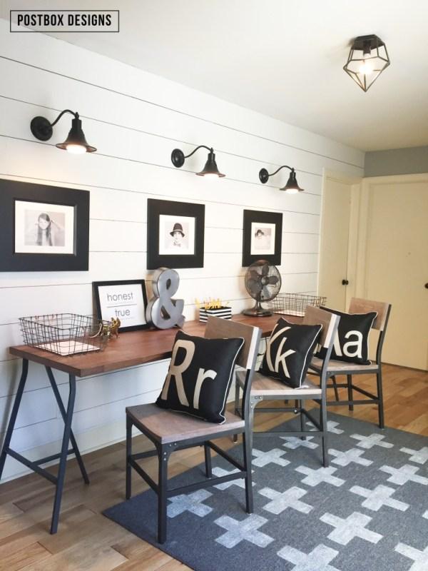 Postbox Designs, Industrial Farmhouse Style Homework Station