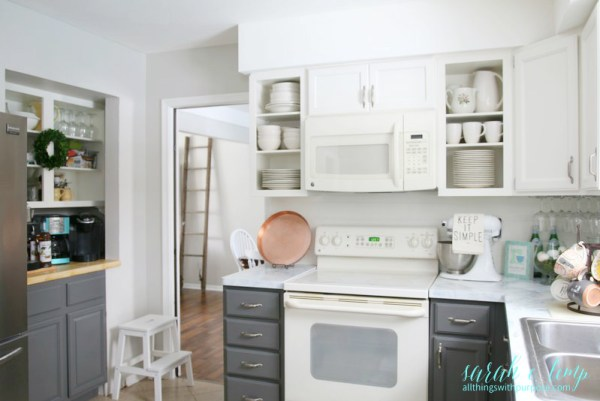 Budget Friendly DIY Farmhouse Kitchen Makeover With Painted Cabinets Faux Shiplap Backsplash, All Things With Purpose Featured On @remodelaholi