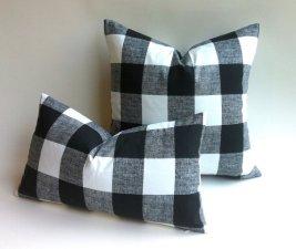 Buffalo Check Black White Plaid Pillows, Pillomatic On Etsy