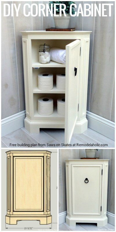 Build this space-smart corner cabinet with the free building plans from Saws on Skates at Remodelaholic.com