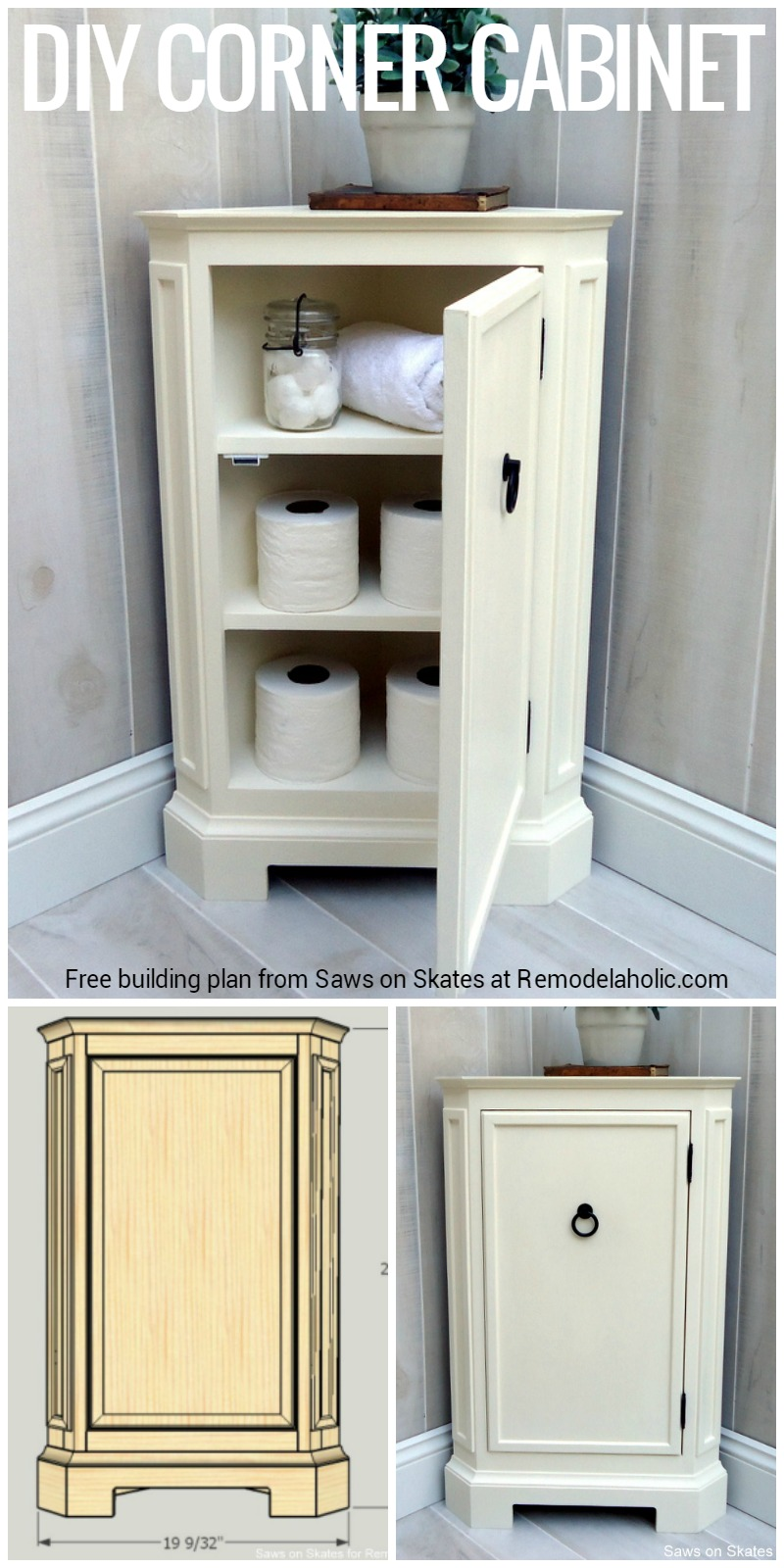 Build This Space Smart Corner Cabinet With The Free Building Plans From Saws On Skates