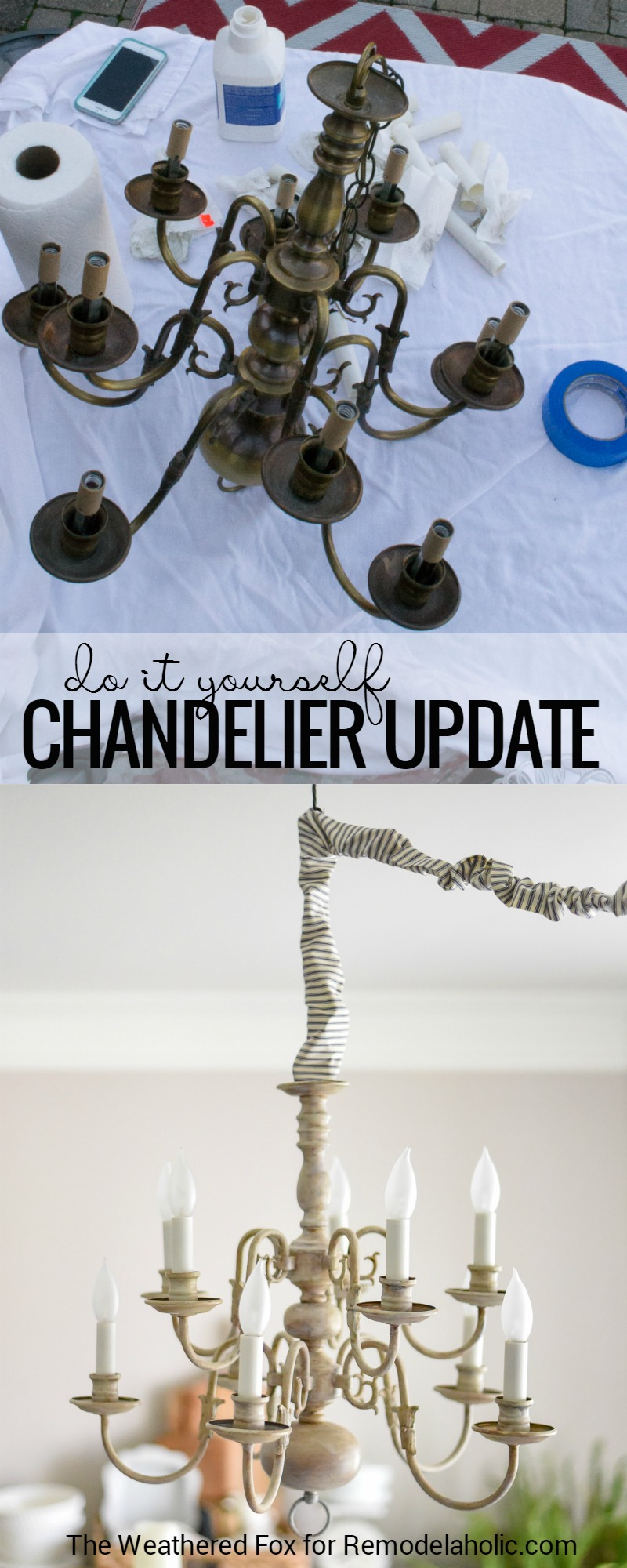 Remodelaholic diy plug in chandelier from thrifted hardwired light this diy chandelier tutorial shows you how to paint and antique a thrift store brass light arubaitofo Choice Image