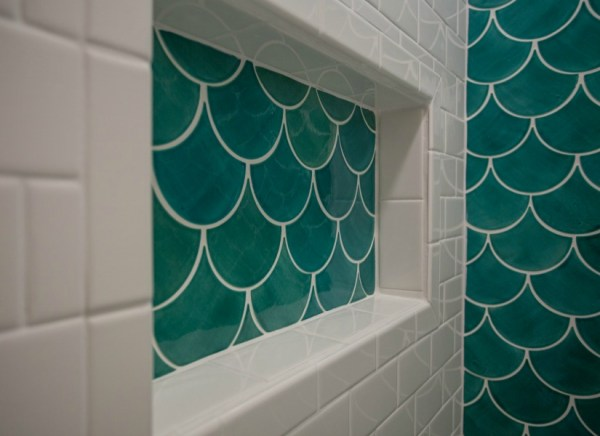 Moroccan Fish Scale Tile Shower Renovation @Remodelaholic Feat