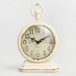 Round Antique Ivory Metal Clock World Market