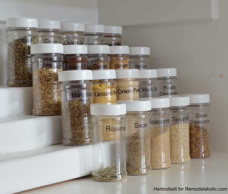 This is such an easy project to organize spice bottles. Build a simple tiered spice & Remodelaholic   How to Build an Easy Tiered Spice Rack