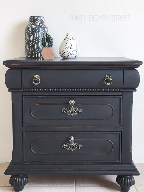 Black Painted Distressed Nightstand 650 1
