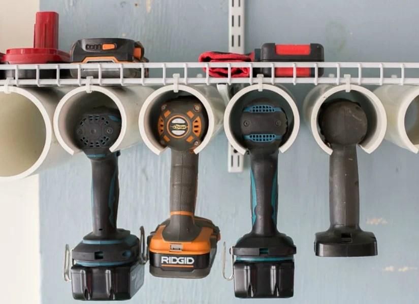 organizing garage tool storage ideas   Remodelaholic   Quick and Easy DIY Power Tool Organizer