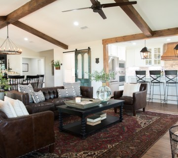 Get This Look: Fixer Upper Big Country House Living & Dining Rooms