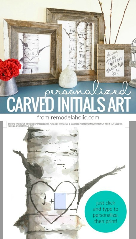 Decorate for winter and lovey-dovey Valentine's Day *without* the pink and purple with this beautiful set of printable personalized birch tree art prints, with custom carved initials and names, from #remodelaholic