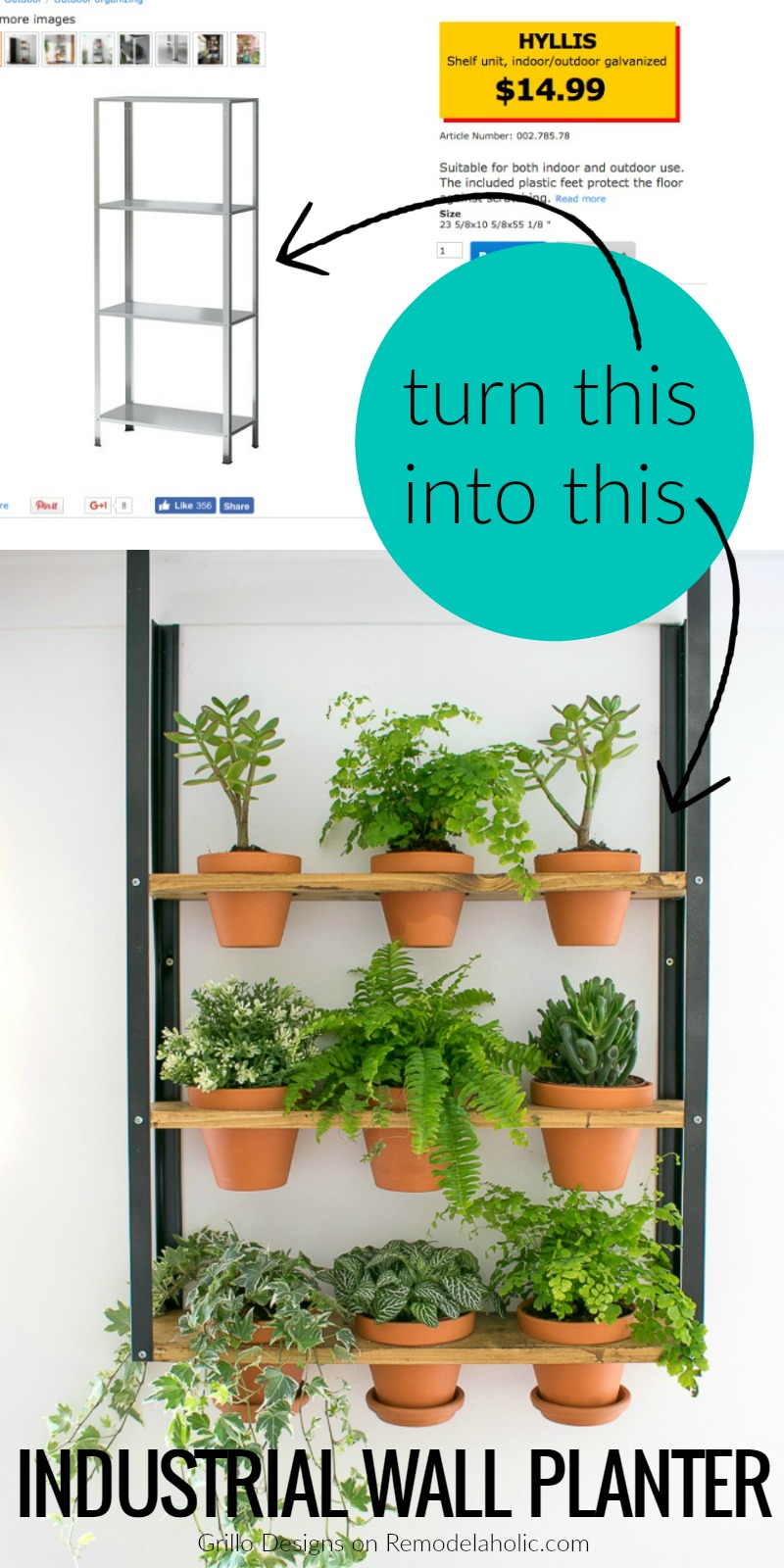 Cool Remodelaholic Ikea Hyllis Hack Industrial Wall Planter Download Free Architecture Designs Scobabritishbridgeorg