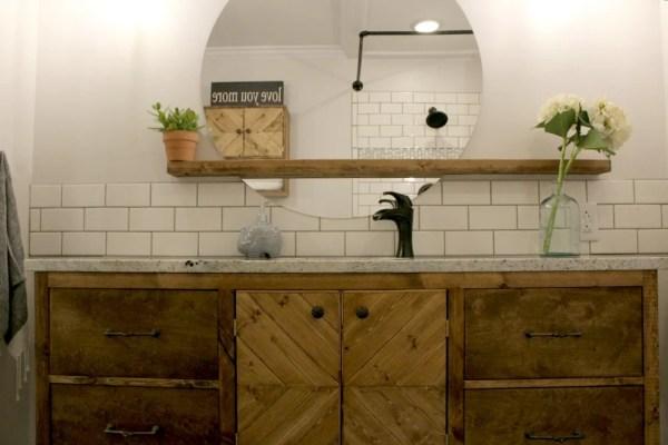 Modern Bathroom Round Sunrise Floating Mirror DIY, Woodshop Diaries Featured On @remodelaholic (4)