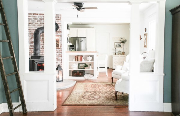DIY Concrete Hearth In 1900s Farmhouse Renovation By She Holds Dearly Featured On @Remodelaholic