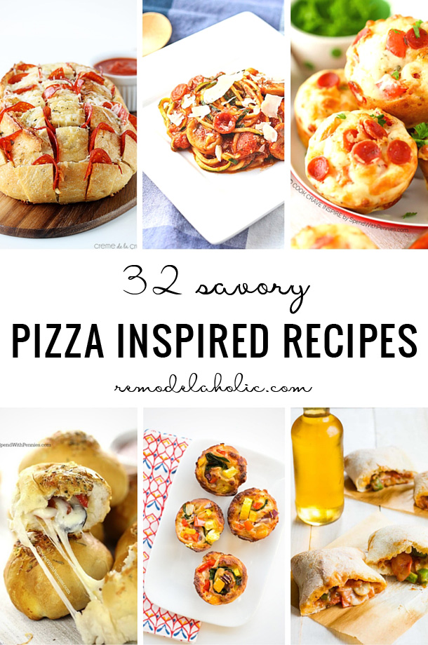 Find a tasty meal option with one of these 32 Savory Pizza Inspired Recipes - featured on Remodelaholic.com