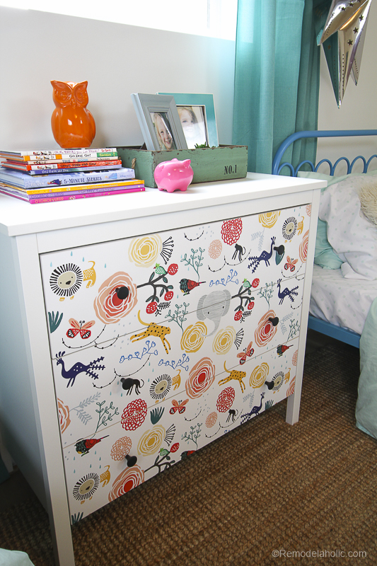 DIY Ikea Dresser Hack Updating With Wallpaper Remodelaholic 5