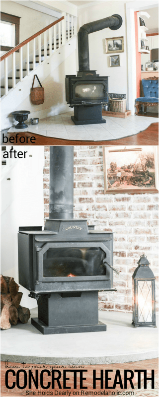 See how Sarah replaced a dated and quirky tile hearth with a simple and inexpensive DIY concrete hearth in her 1906 farmhouse.