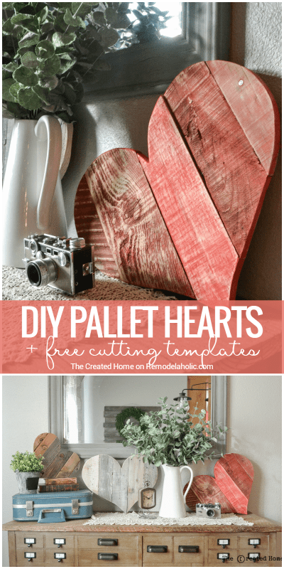 These DIY rustic pallet wood hearts are the perfect scrap project! Use these free templates to cut it out, and then paint it, whitewash it, or leave it natural.